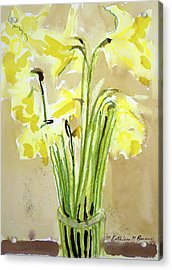 Yellow Flowers In Vase Acrylic Print