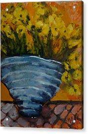 Yellow Flowers Acrylic Print by Juliet Mevi
