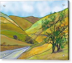 Yellow Foothills Acrylic Print