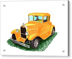 Yellow Ford Hot Rod Coupe Acrylic Print by Jack Pumphrey