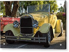 Yellow Ford Roadster Acrylic Print by Steve Benefiel
