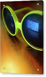 Yellow Goggles With Reflection Acrylic Print by Carlos Caetano
