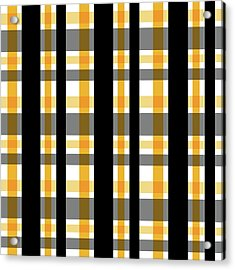 Acrylic Print featuring the photograph Yellow Gold And Black Plaid Striped Pattern Vrsn 1 by Shelley Neff