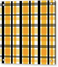 Acrylic Print featuring the photograph Yellow Gold And Black Plaid Striped Pattern Vrsn 2 by Shelley Neff