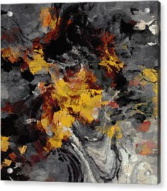 Acrylic Print featuring the painting Yellow / Golden Abstract / Surrealist Landscape Painting by Ayse Deniz