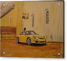 Acrylic Print featuring the painting Yellow Gt3 Porsche by Richard Le Page