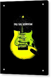 Acrylic Print featuring the photograph Yellow Guitar Full Time Occupation by Guitar Wacky