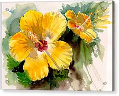 Acrylic Print featuring the painting Yellow Hibiscus by Yolanda Koh