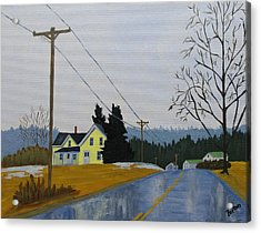 Yellow House In March Acrylic Print by Laurie Breton