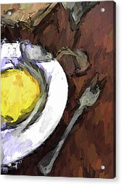Yellow Lemon In A White Bowl With A Fork And A Wine Glass Acrylic Print