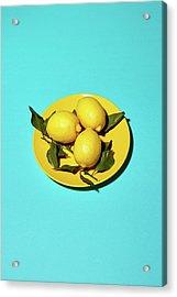 Yellow Lemons On Cyan Acrylic Print by Oleg Cherneikin