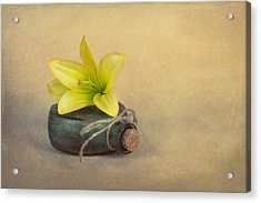 Yellow Lily And Green Bottle Acrylic Print by Tom Mc Nemar