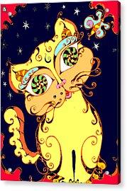 Yellow Loopy Cat Acrylic Print by Rae Chichilnitsky