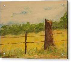 Acrylic Print featuring the painting Yellow Meadow  by Vicki  Housel