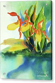 Acrylic Print featuring the painting Yellow Moccasin Flowers by Kathy Braud