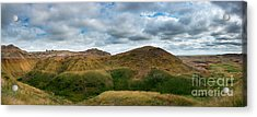 Yellow Mounds At Badlands Panorama Acrylic Print