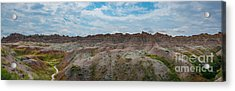 Yellow Mounds Panorama At Badlands South Dakota Acrylic Print