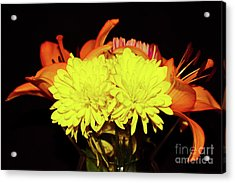Yellow Mums And Orange Lilies  Acrylic Print
