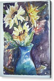 Yellow Mums Acrylic Print by Dorothy Herron