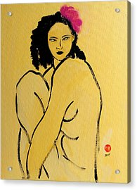 Yellow Nude With Pink Hibiscus Seated Acrylic Print by Susan Adams