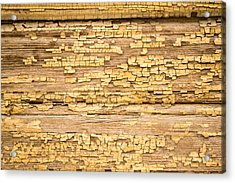 Acrylic Print featuring the photograph Yellow Painted Aged Wood by John Williams