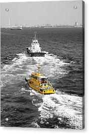 Yellow Pilot Yokohama Port Acrylic Print