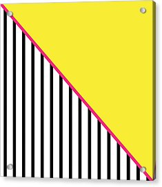 Yellow Pink And Black Geometric Acrylic Print