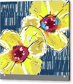 Yellow Poppies 2- Art By Linda Woods Acrylic Print