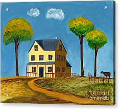 Acrylic Print featuring the painting Yellow Prairie House by Gail Finn