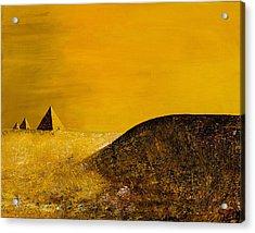 Yellow Pyramid Acrylic Print by Mayhem Mediums