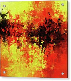 Acrylic Print featuring the painting Yellow, Red And Black by Ayse Deniz