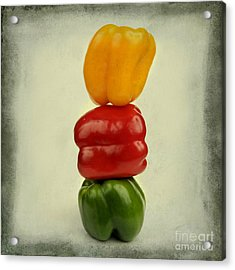 Yellow Red And Green Bell Pepper Acrylic Print by Bernard Jaubert