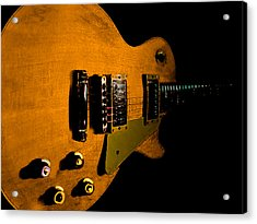 Yellow Relic Guitar Hover Series Acrylic Print