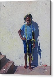Yellow Rope Acrylic Print by Colin Bootman