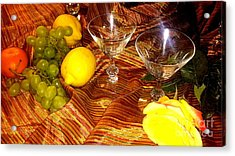 Yellow Rose, 2 Glasses, Grapes, Lemons Acrylic Print