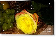 Yellow Rose And Grapes Acrylic Print
