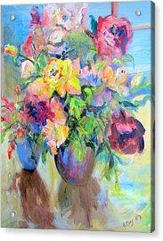 Yellow Rose Acrylic Print by Elaine Cory