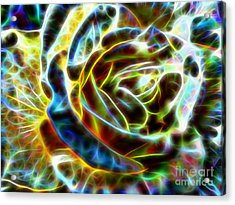 Yellow Rose Fractal Acrylic Print