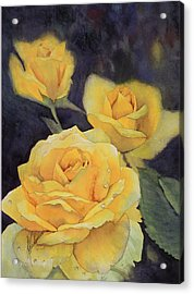 Yellow Rose Acrylic Print by Leah Wiedemer