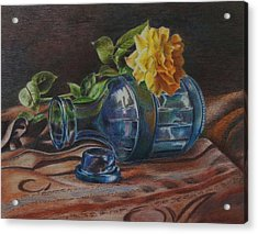 Yellow Rose On Blue Acrylic Print by Mary Jo Jung