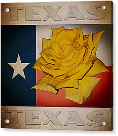 Acrylic Print featuring the digital art Yellow Rose On Texas by William Havle