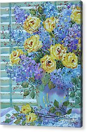 Yellow Roses And Lilacs Acrylic Print
