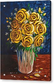 Acrylic Print featuring the painting Yellow Roses by Katherine Young-Beck