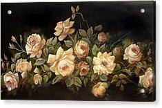 Yellow Roses On Black  Acrylic Print