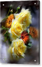 Yellow Roses Acrylic Print by Stephen Lucas