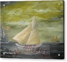 Yellow Sail Boat Acrylic Print by M Bhatt