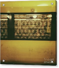 Yellow Subway Train Acrylic Print