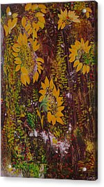 Acrylic Print featuring the painting Yellow Sunflowers by Sima Amid Wewetzer