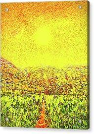 Acrylic Print featuring the digital art Yellow Sunlit Path - Marin California by Joel Bruce Wallach