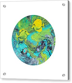 Acrylic Print featuring the painting Yellow Tang On White by Darice Machel McGuire